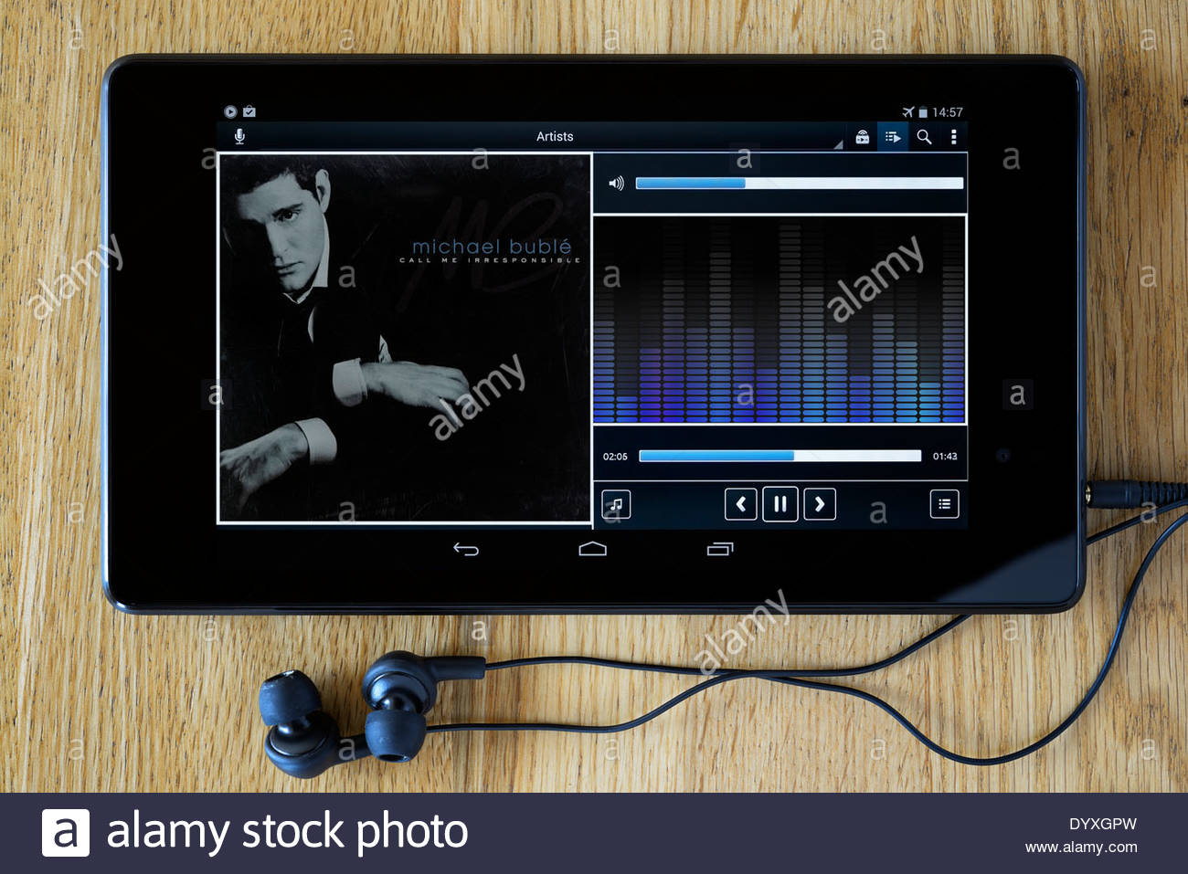 Michael Bublé Call Me Irresponsible MP3 album art on PC tablet, England - Stock Image