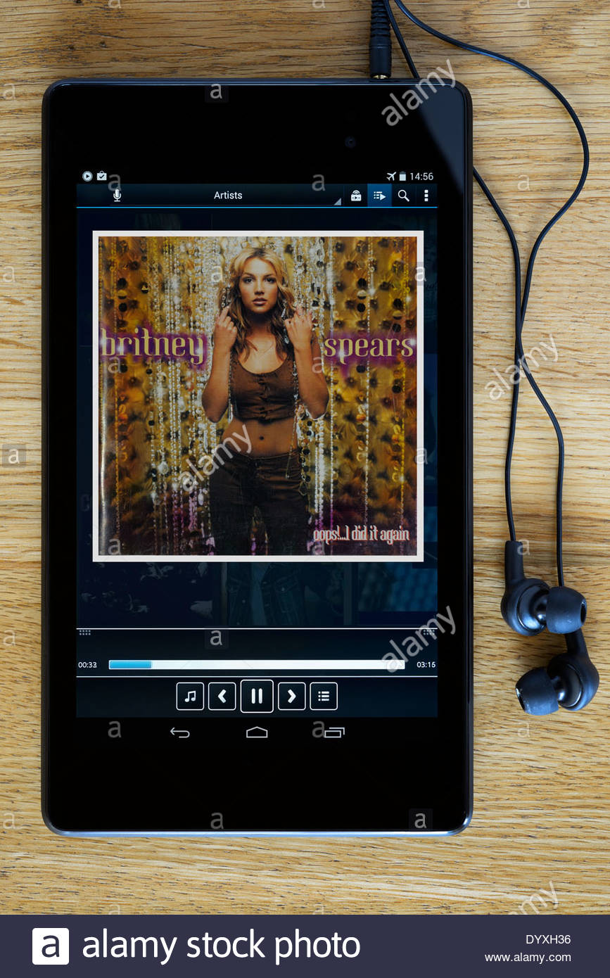Britney Spears oops I did it again MP3 album art on PC tablet, England - Stock Image