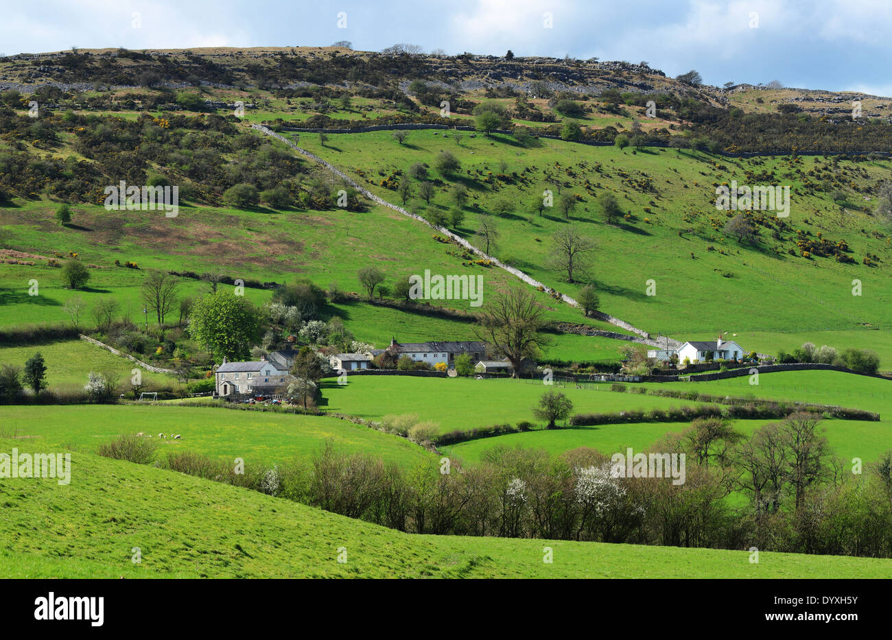 Rural Landscape in Cumbria, North West England with Hamlet in valley Stock Photo