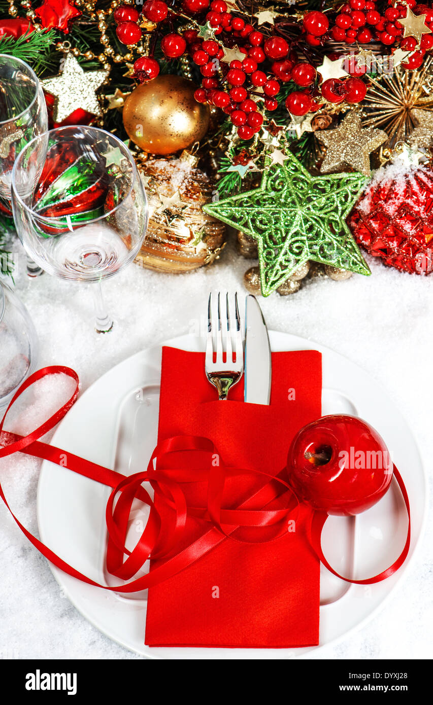 Christmas Table Place Setting With Red And Gold Decorations Vibrant