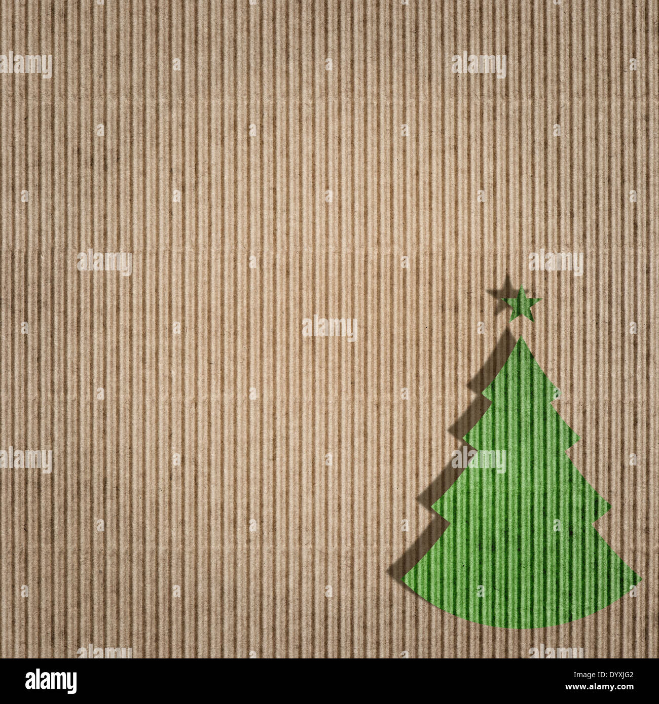 recycling paper with green christmas tree. environment friendly card ...