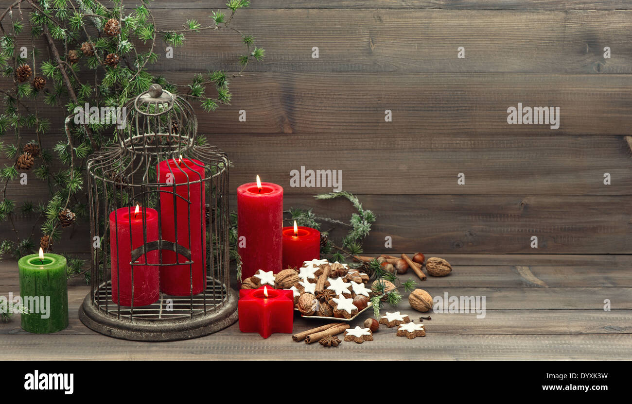 Vintage Christmas Decoration Birdcage Red Candles And Pine Branch