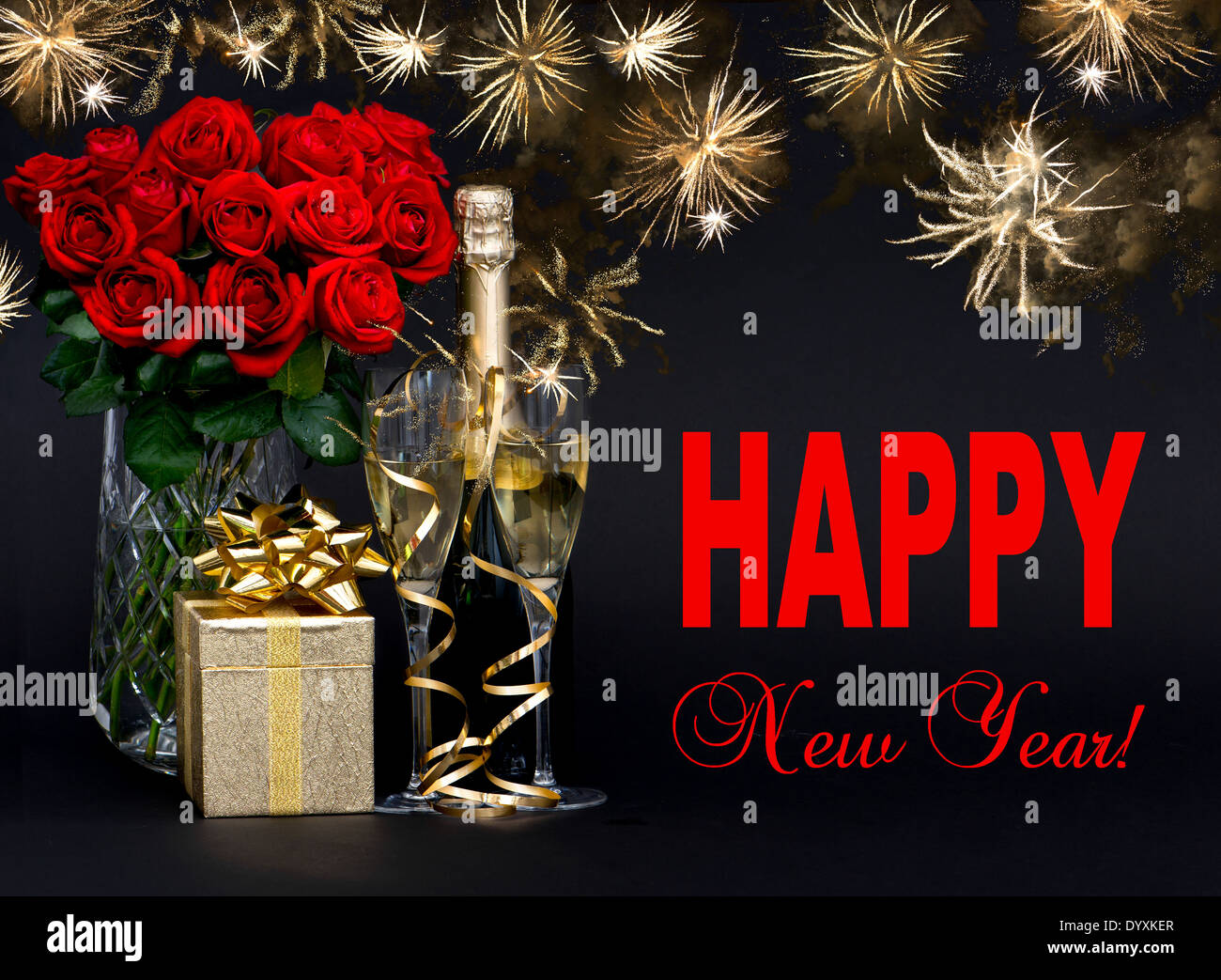 happy new year card concept red roses bottle of champagne golden gift with beautiful golden fireworks on black background
