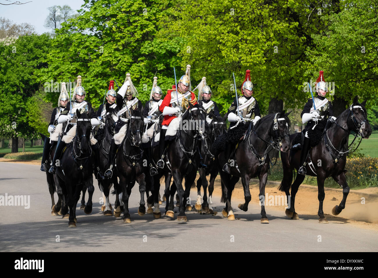 Mounted Household Cavalry soldiers on horseback in Hyde Park London United Kingdom Stock Photo