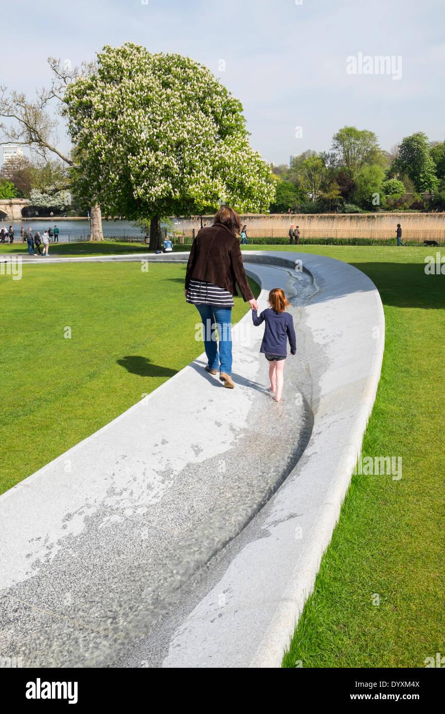 Princess Diana memorial fountain in Hyde Park London United Kingdom - Stock Image