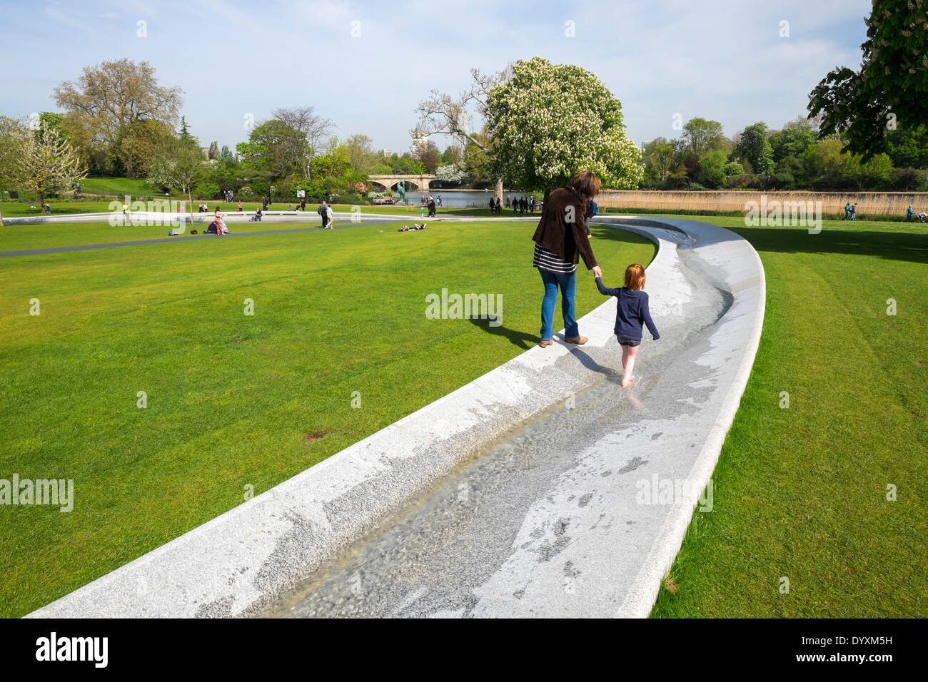 Princess Diana memorial fountain in Hyde Park London United Kingdom - Stock Image