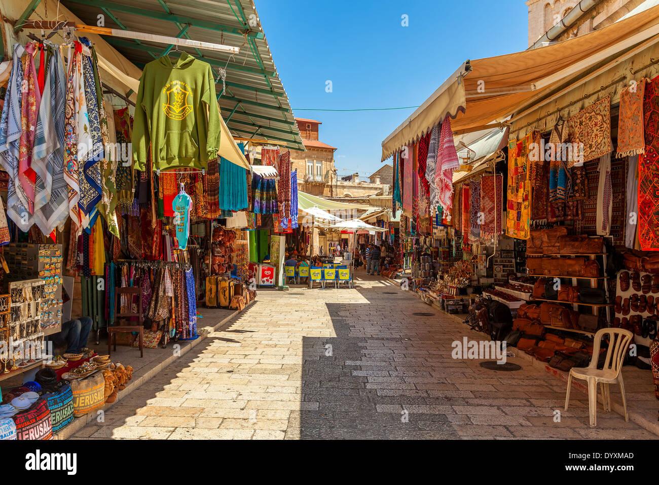 Bazaar in Old City of Jerusalem, Israel. - Stock Image