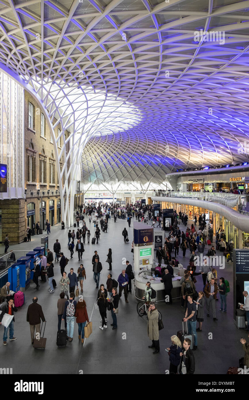 Modern new architecture of Western Concourse at King's Cross railway station in London United Kingdom - Stock Image