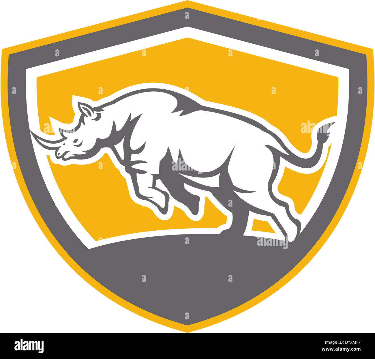 Illustration of a rhinoceros charging side view set inside shield crest shape on isolated background done in retro style. - Stock Image