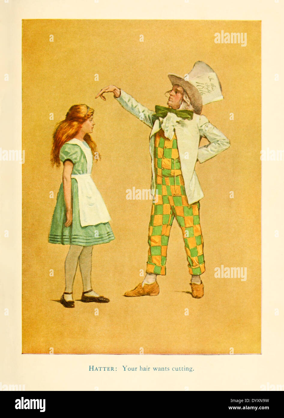 Alice and the Hatter, from for the 1915 stage adaptation of 'Alice in Wonderland' by Lewis Carroll, illustration by James Allen St. John (1872-1957). See description for more information. - Stock Image