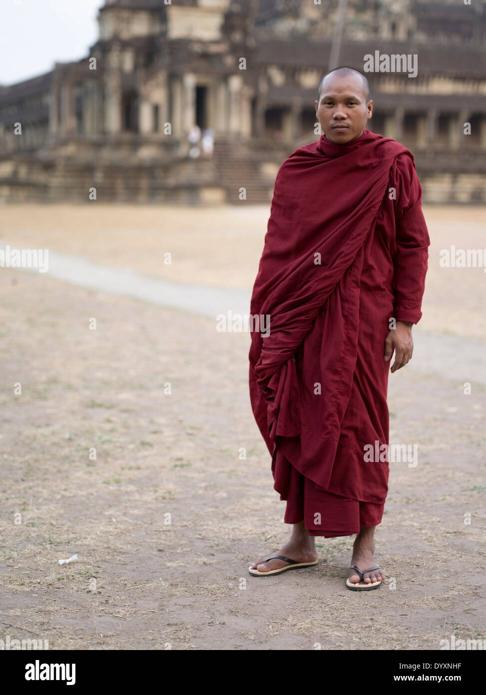 Buddhist monk in traditional robes at Angkor Wat, Siem Reap, Cambodia - Stock Image