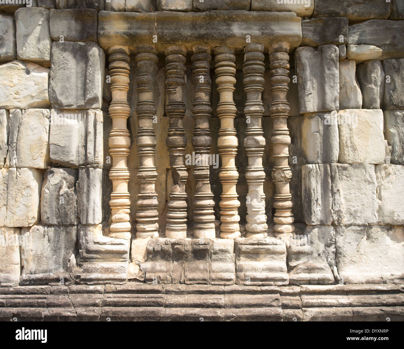 Turned stone pillars at Bakong Temple ( Roluos Group ) Siem Reap, Cambodia - Stock Image
