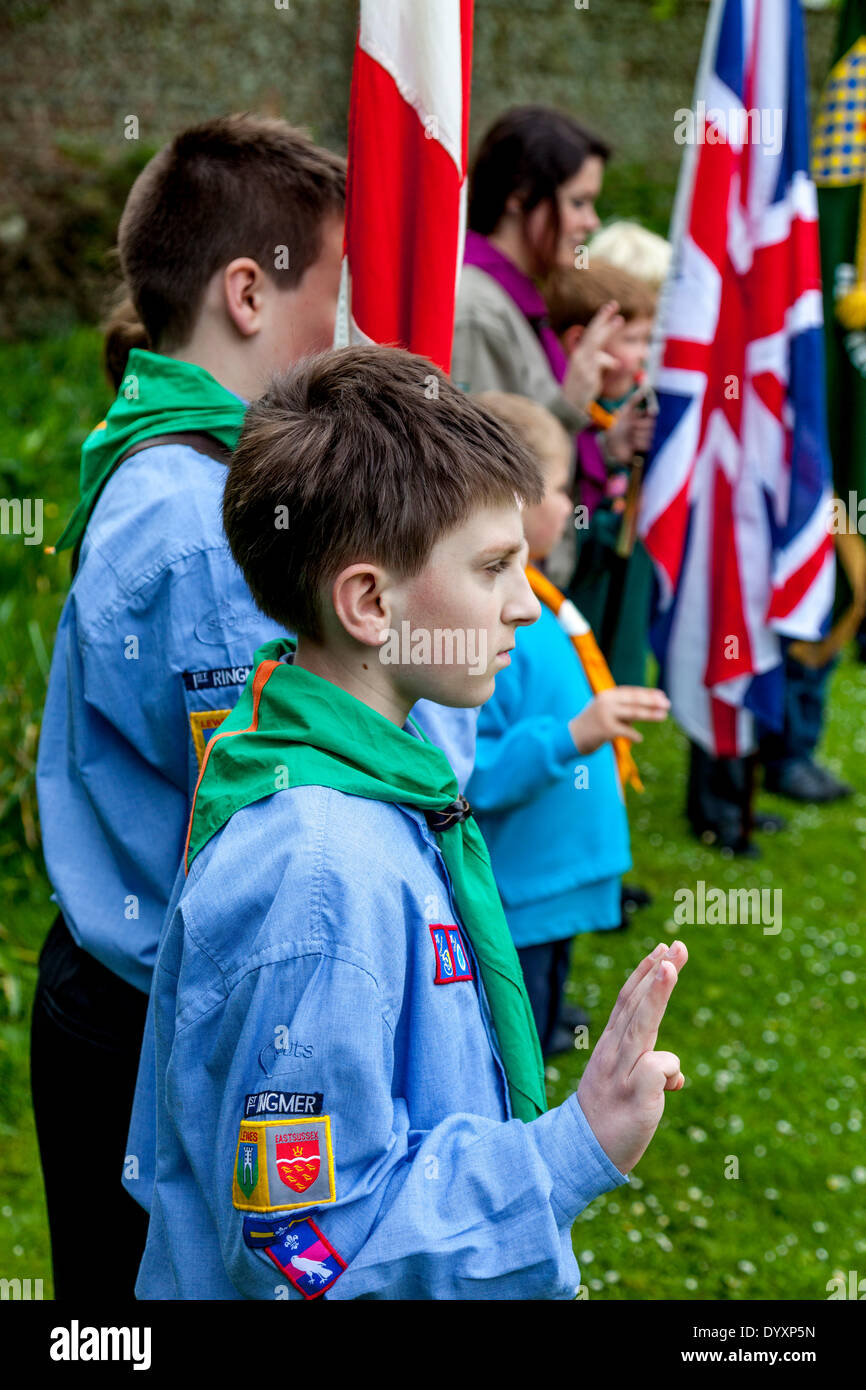 Lewes, Sussex, UK. 27th Apr, 2014.  The Grange Gardens, Lewes, Sussex, UK.  Local Cub Groups Recite The Cub/Scout Promise During The Annual St George's Day Parade. Credit:  Grant Rooney/Alamy Live News - Stock Image