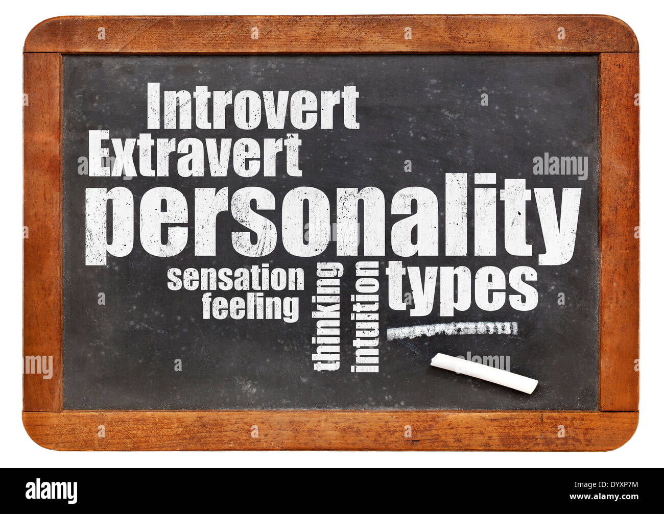 personality types word cloud on a vintage blackboard - Stock Image