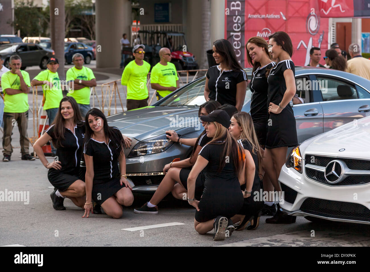 Mercedes Benz models with pace cars at the 2014 Mercedes-Benz Corporate Run in Miami, Florida, USA. Stock Photo