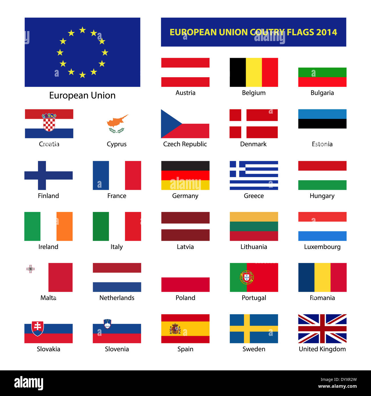 European Union country flags, member states EU - Stock Image