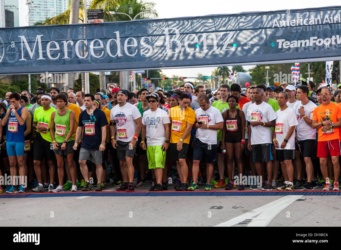 Runners at start of 2014 Mercedes-Benz Corporate Run in Miami, Florida, USA. Stock Photo