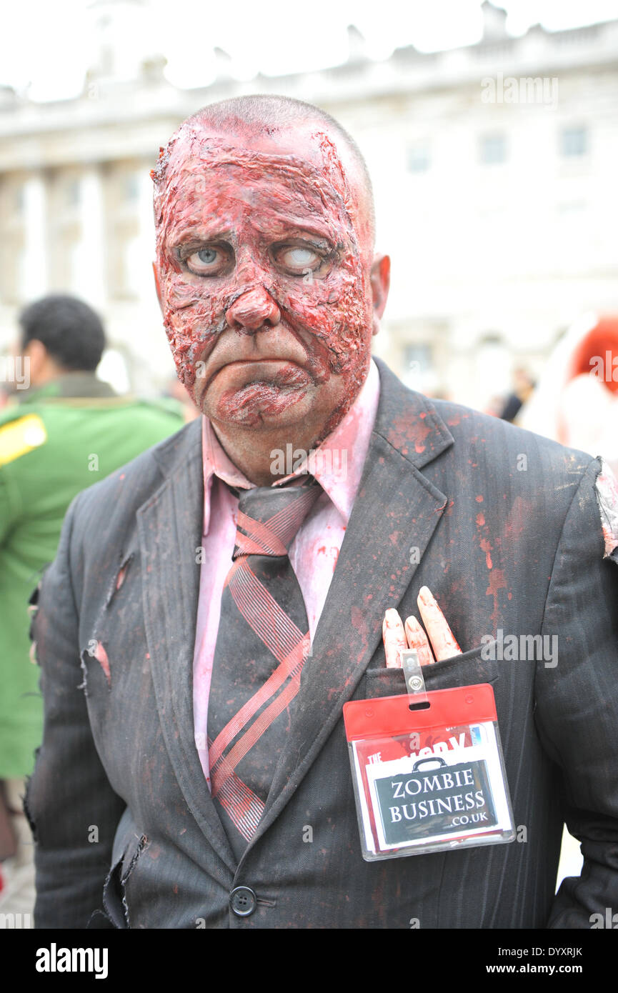 Somerset House, London, UK. 27th April 2014. A Zombie Businessman poses in Somerset House for the Sci-Fi London Festival Costume Parade. Credit:  Matthew Chattle/Alamy Live News - Stock Image
