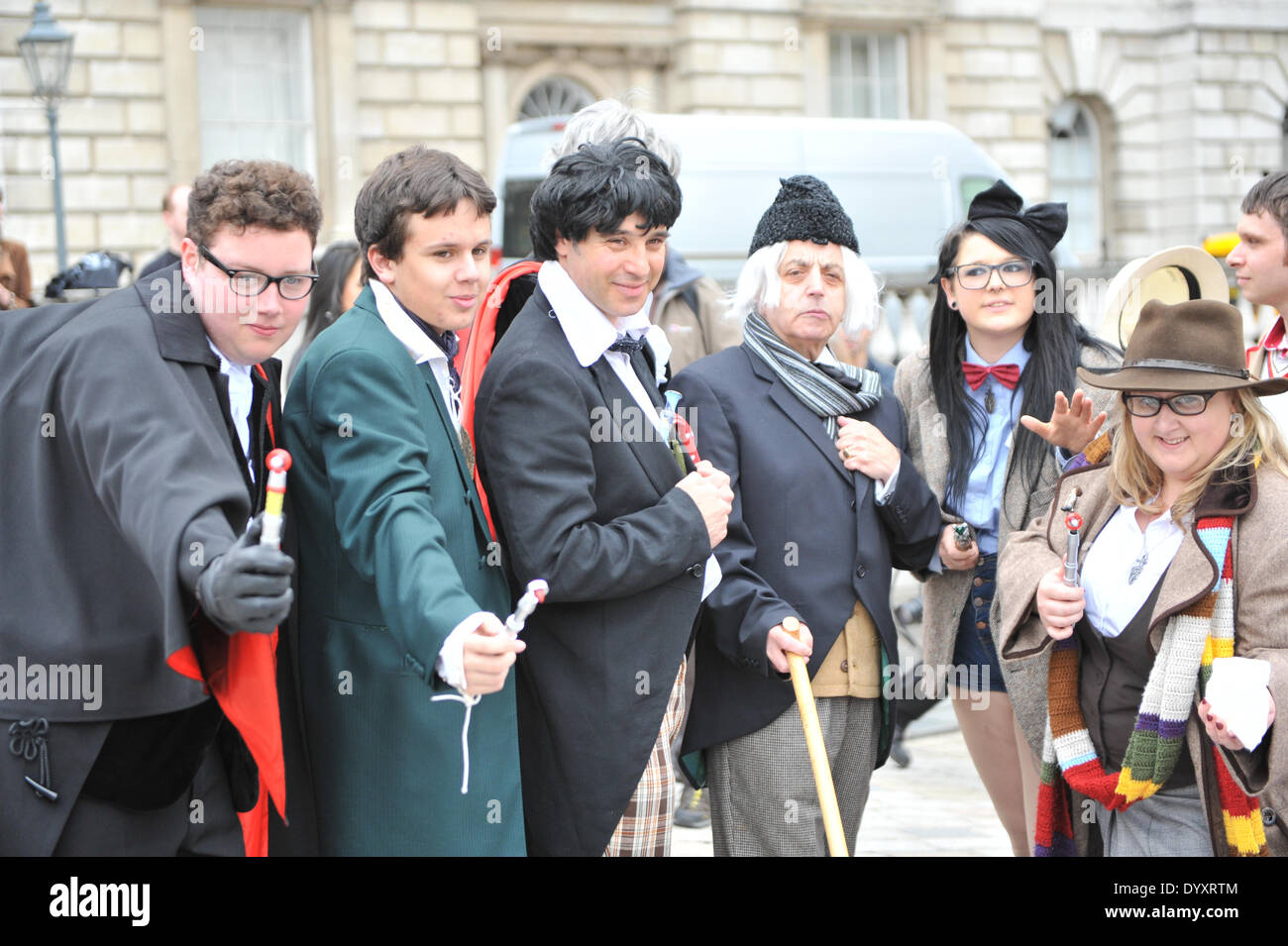 Somerset House, London, UK. 27th April 2014. Multiple Doctor Who's pose in Somerset House for the Sci-Fi London Festival Costume Parade. Credit:  Matthew Chattle/Alamy Live News - Stock Image