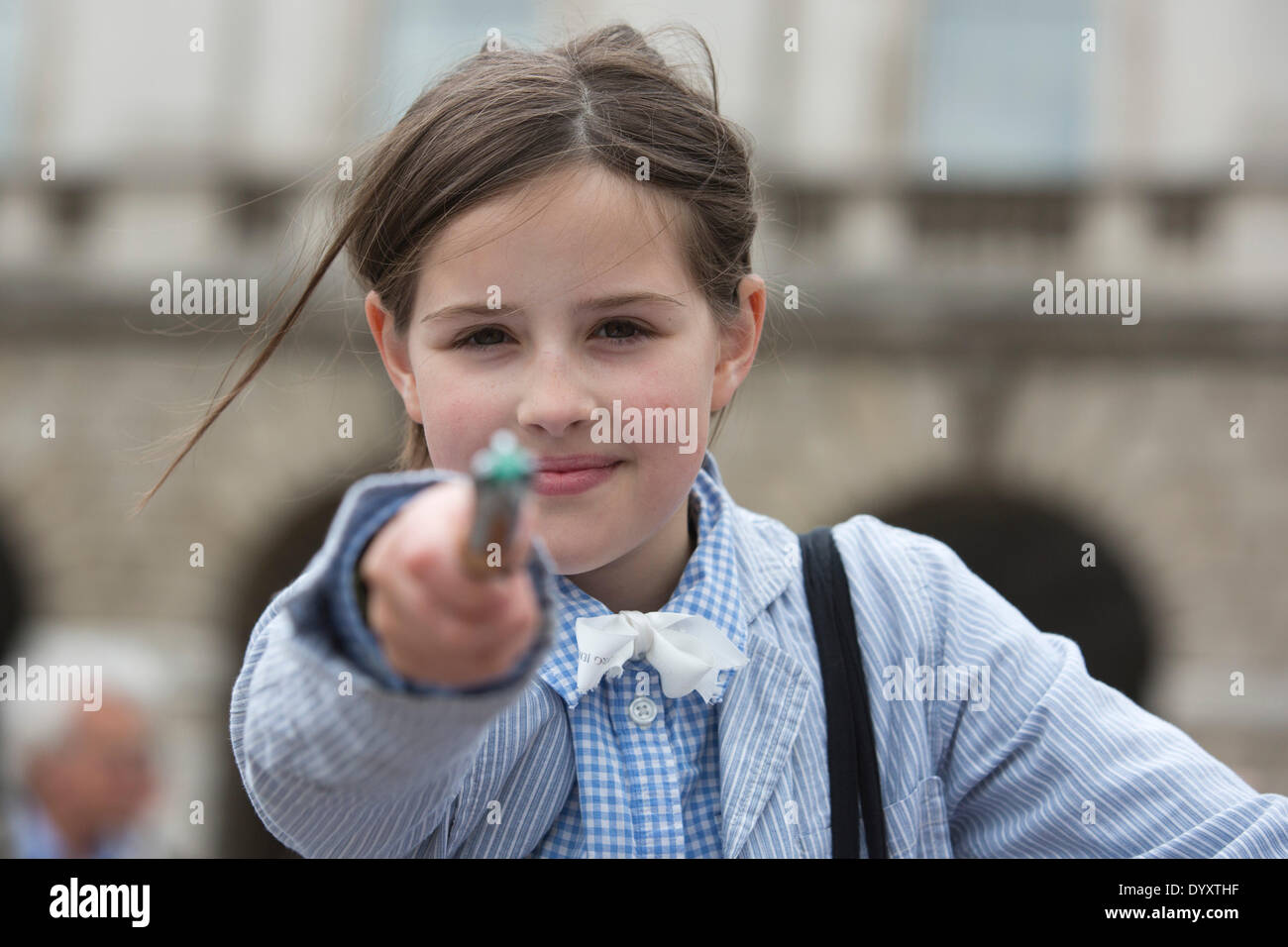 London, UK. 27 April 2014. Little Doctor Who fan with a sonic screwdriver. Sci-Fi fans gathered in the Courtyard Stock Photo