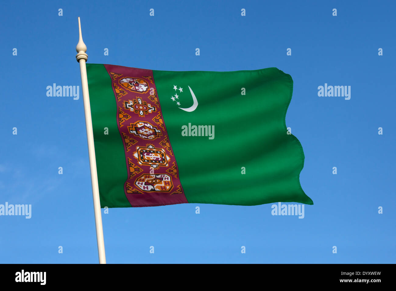 The national flag of Turkmenistan - Stock Image