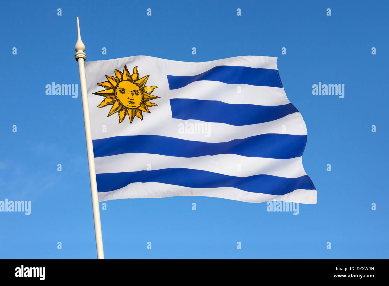 The national flag of Uruguay. - Stock Image