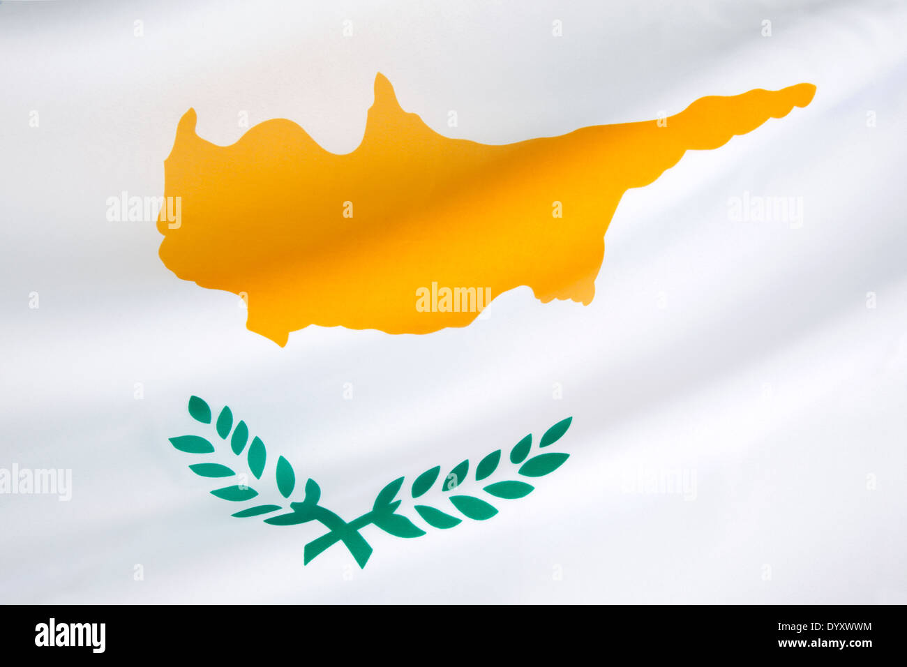 The national flag of Cyprus - Stock Image