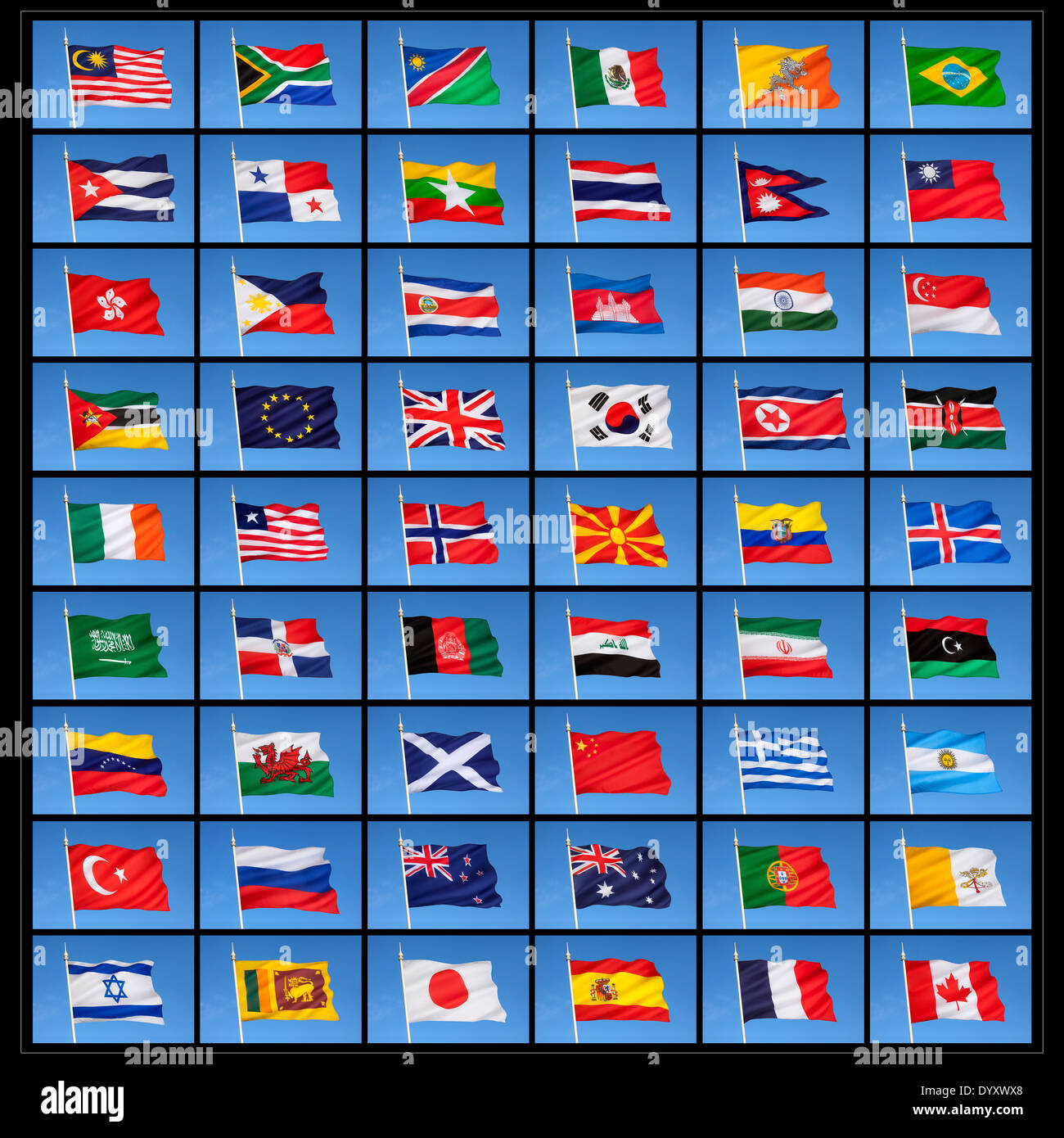 A collection of national flags from countries around the world. - Stock Image