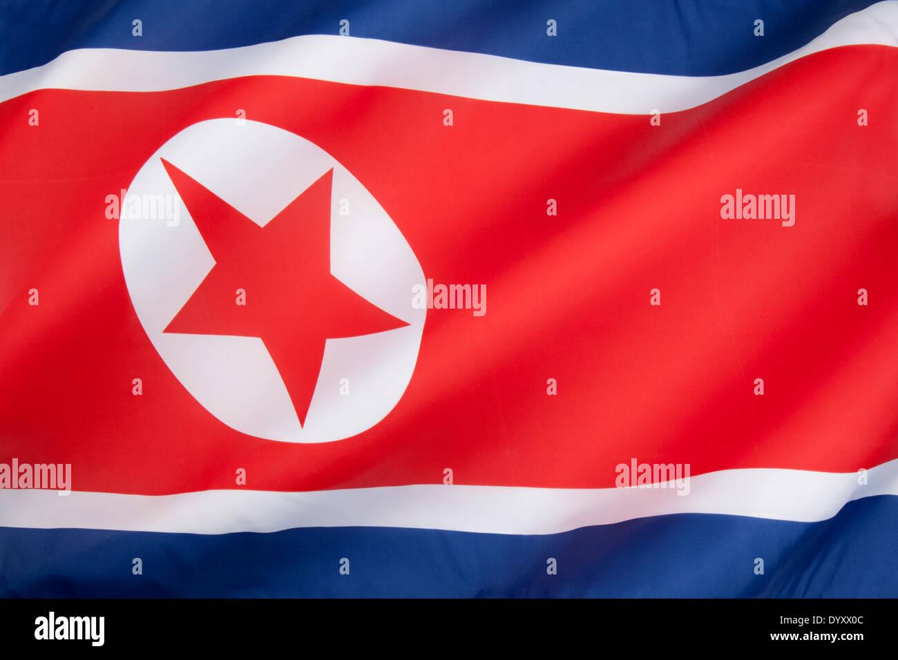 The flag of North Korea - Stock Image