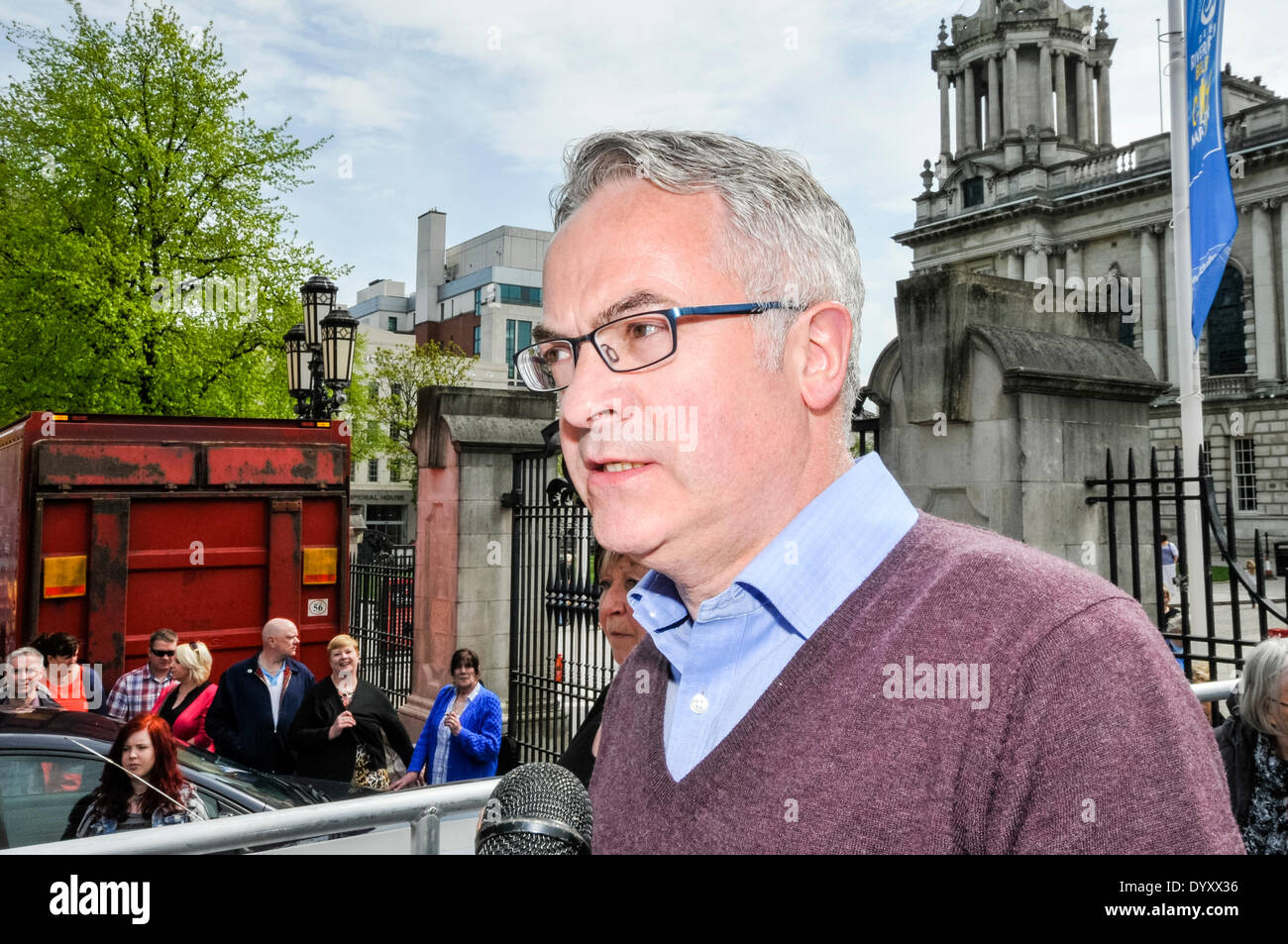 Belfast, Northern Ireland. 27 Apr 2014 - Alex Attwood MLA addresses a crowd at Belfast City Hall Credit:  Stephen Barnes/Alamy Live News - Stock Image