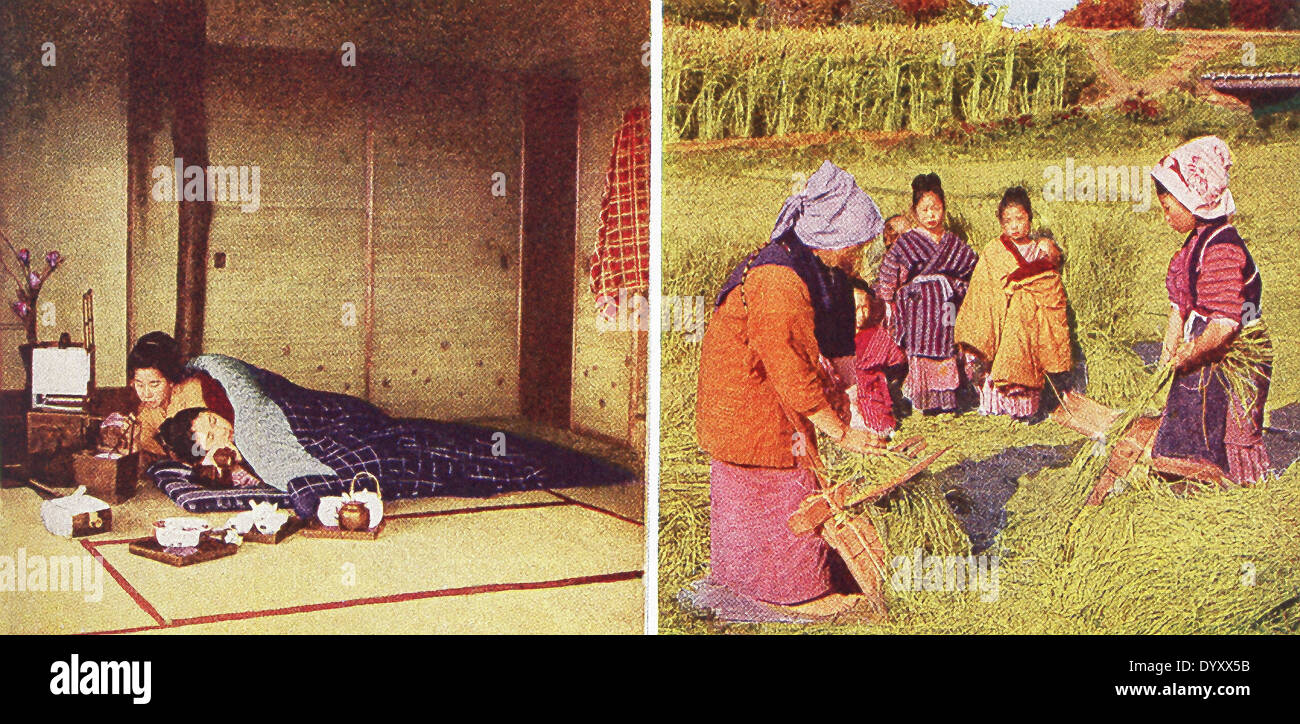 These scenes in Japan date to 1909: Japanese bed and bedroom (left) and combining out flax seed. - Stock Image