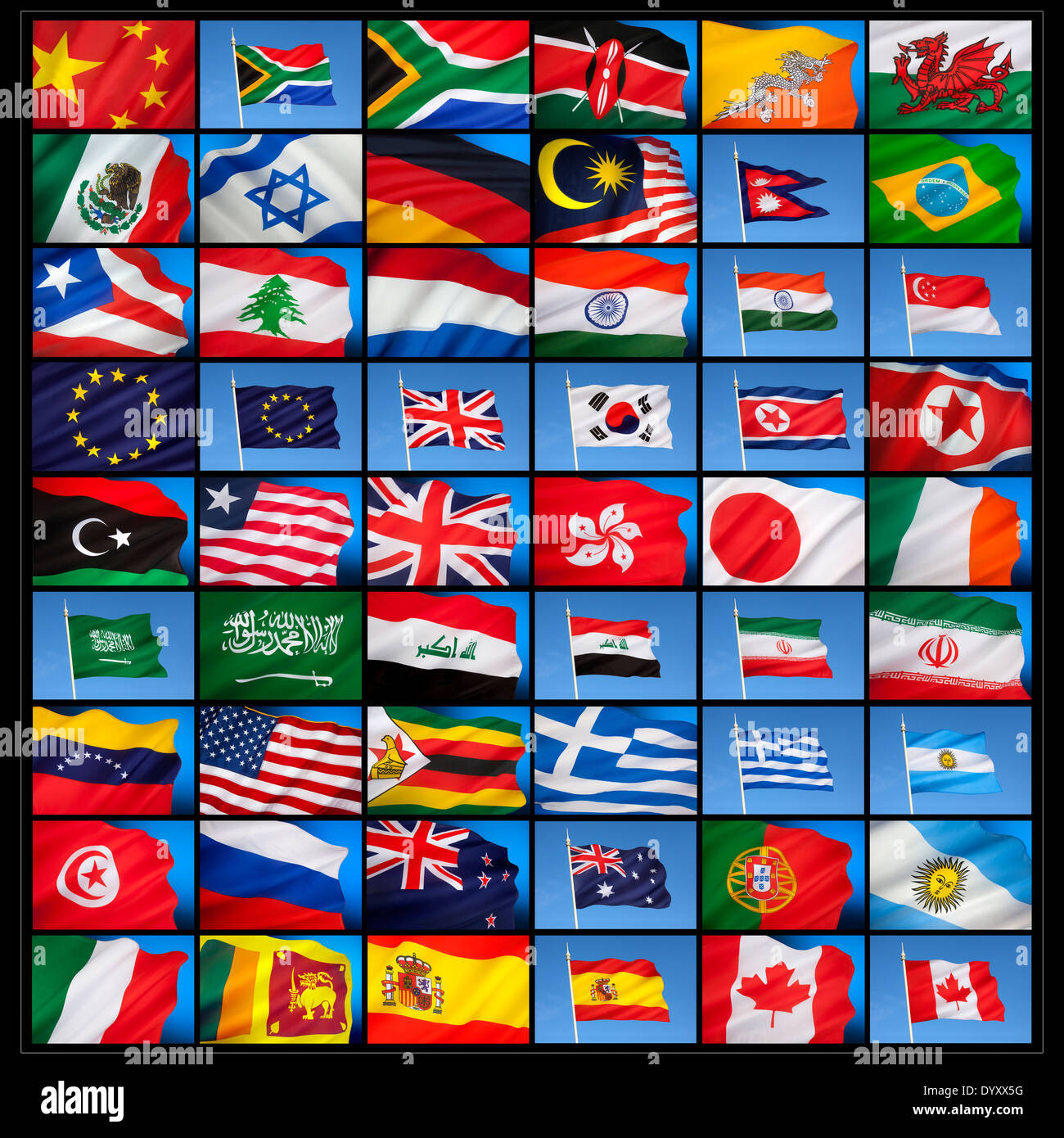 National flags from countries around the world Stock Photo
