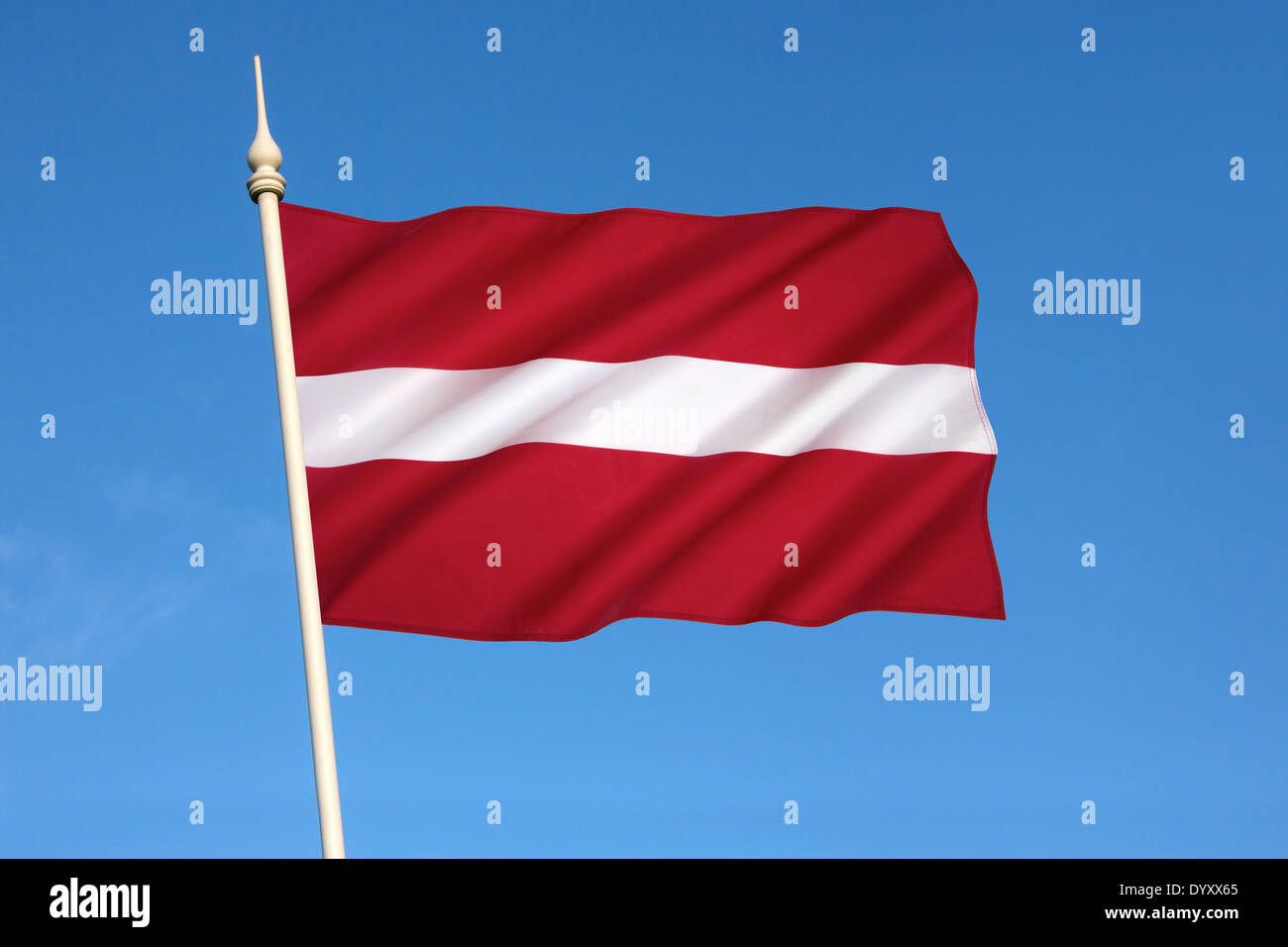 The national flag of Latvia - Stock Image