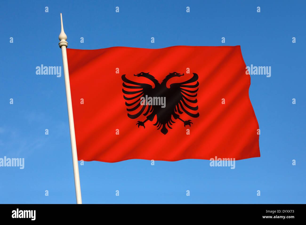 The Flag of Albania - Stock Image