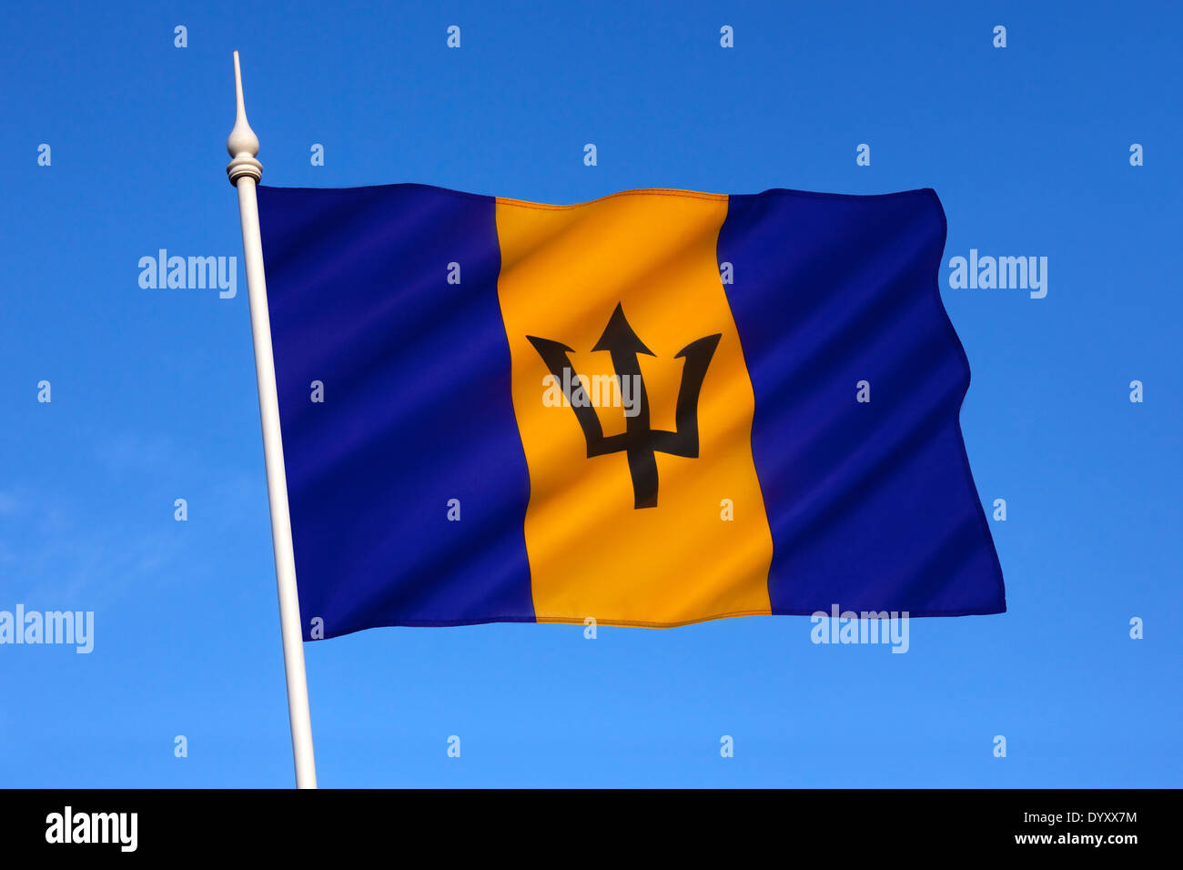 The national flag of Barbados - Stock Image
