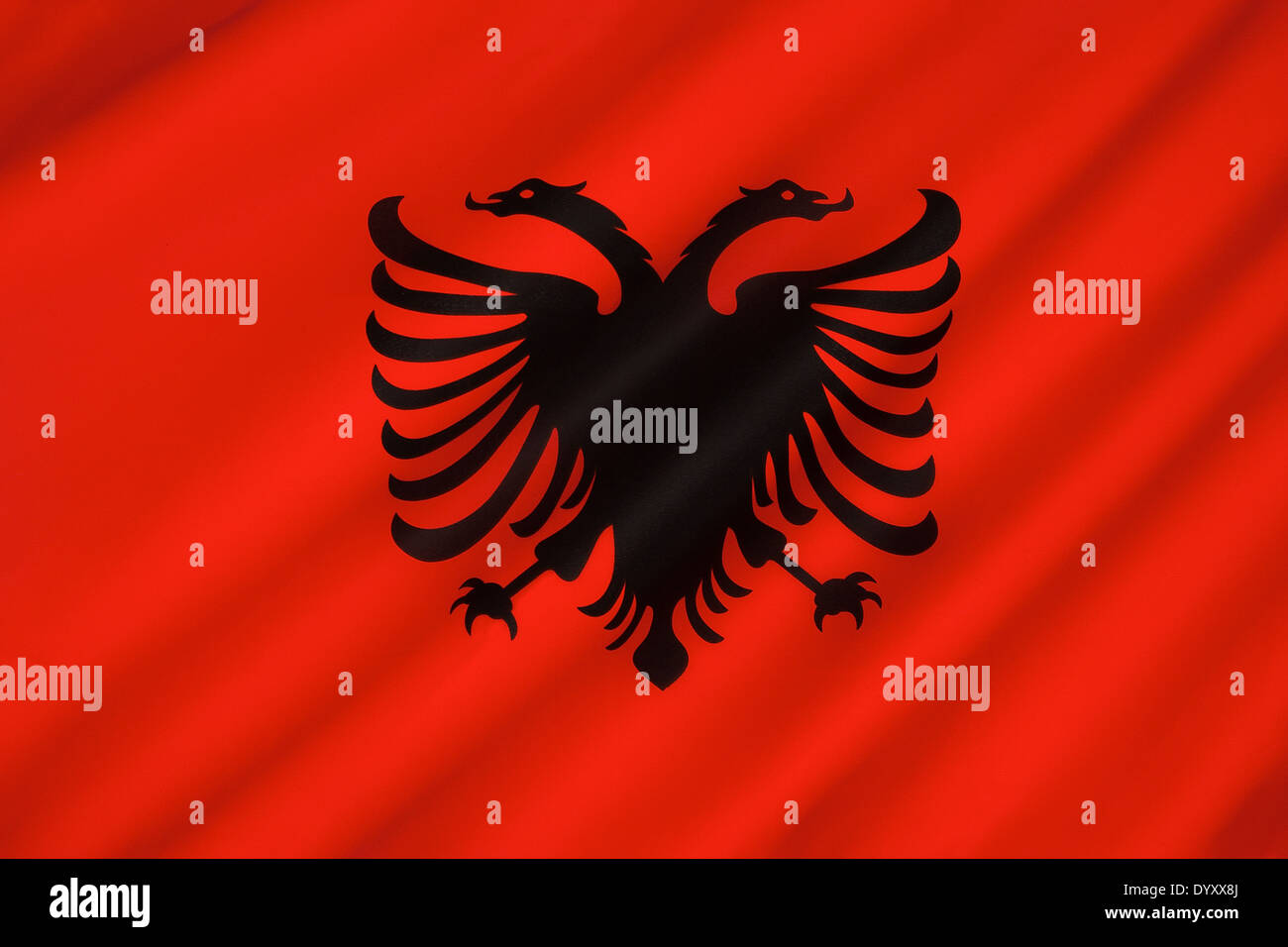 The Flag of Albania - Stock Image
