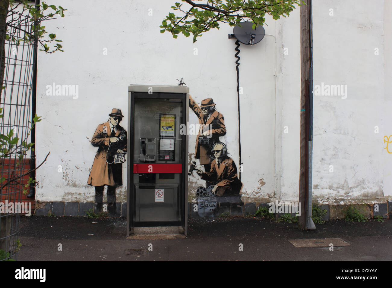 GCHQ themed Banksy in Cheltenham, England, parodying 1950s spies. Called   Spy Booth 9fbd3772aa