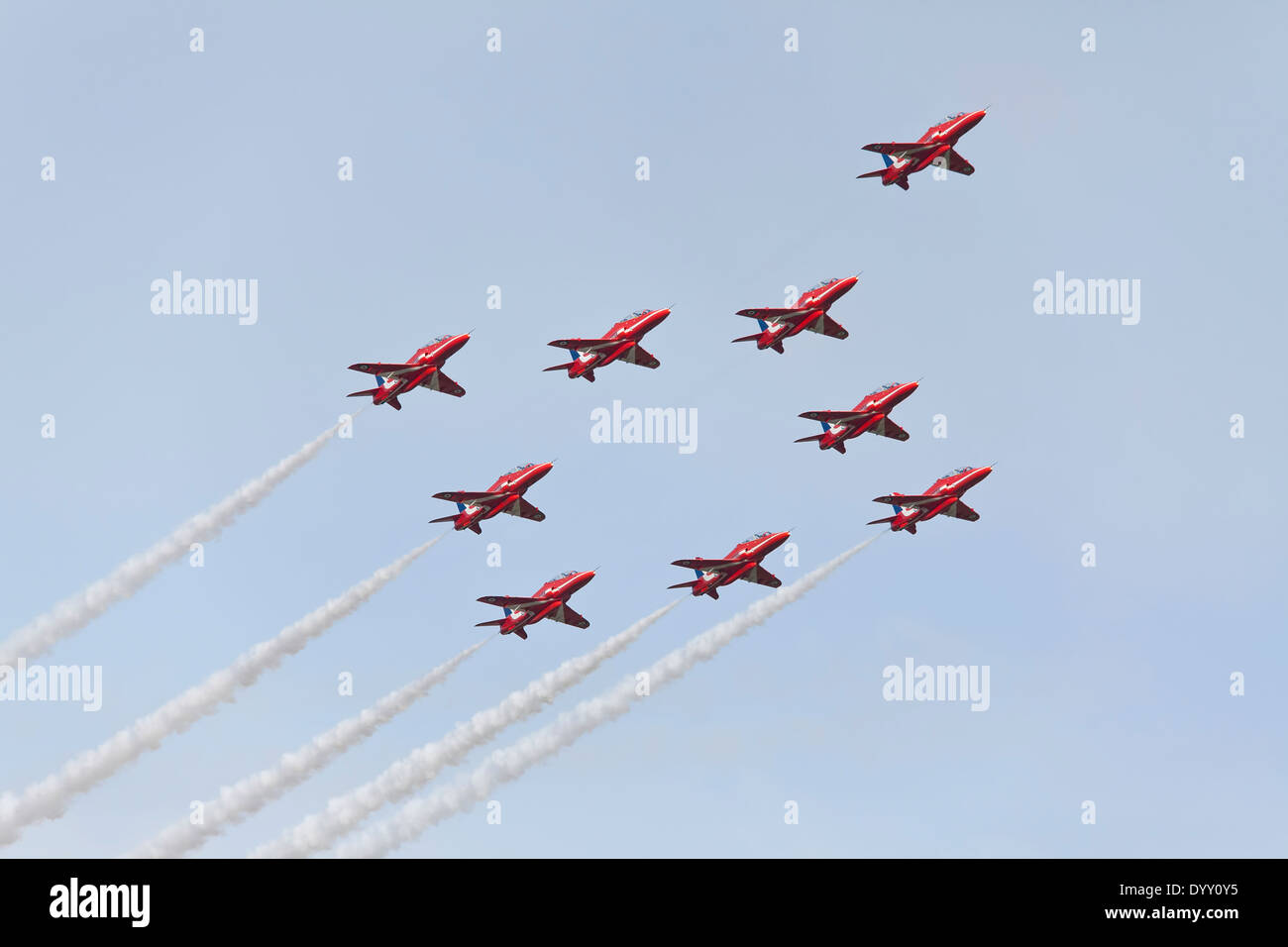 Red Arrows in formation - Stock Image