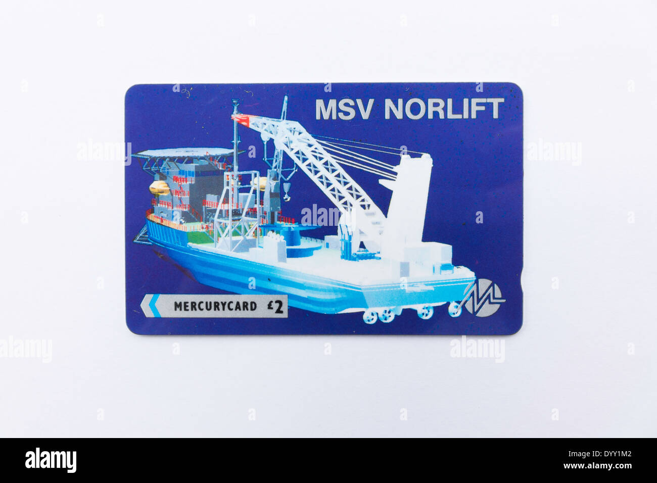 A 1992 Mercury Telephone card depicting the MSV Norlift a construction vessel owned by Cable and Wireless subsidiary NOS. - Stock Image