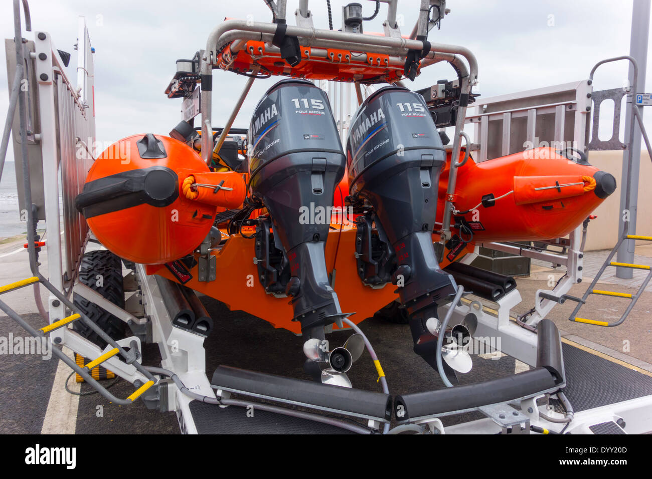 Detail of Redcar RNLI inshore lifeboat type IB1 named Leicester Challenge 1 showing powerful twin Yamaha outboard motors - Stock Image