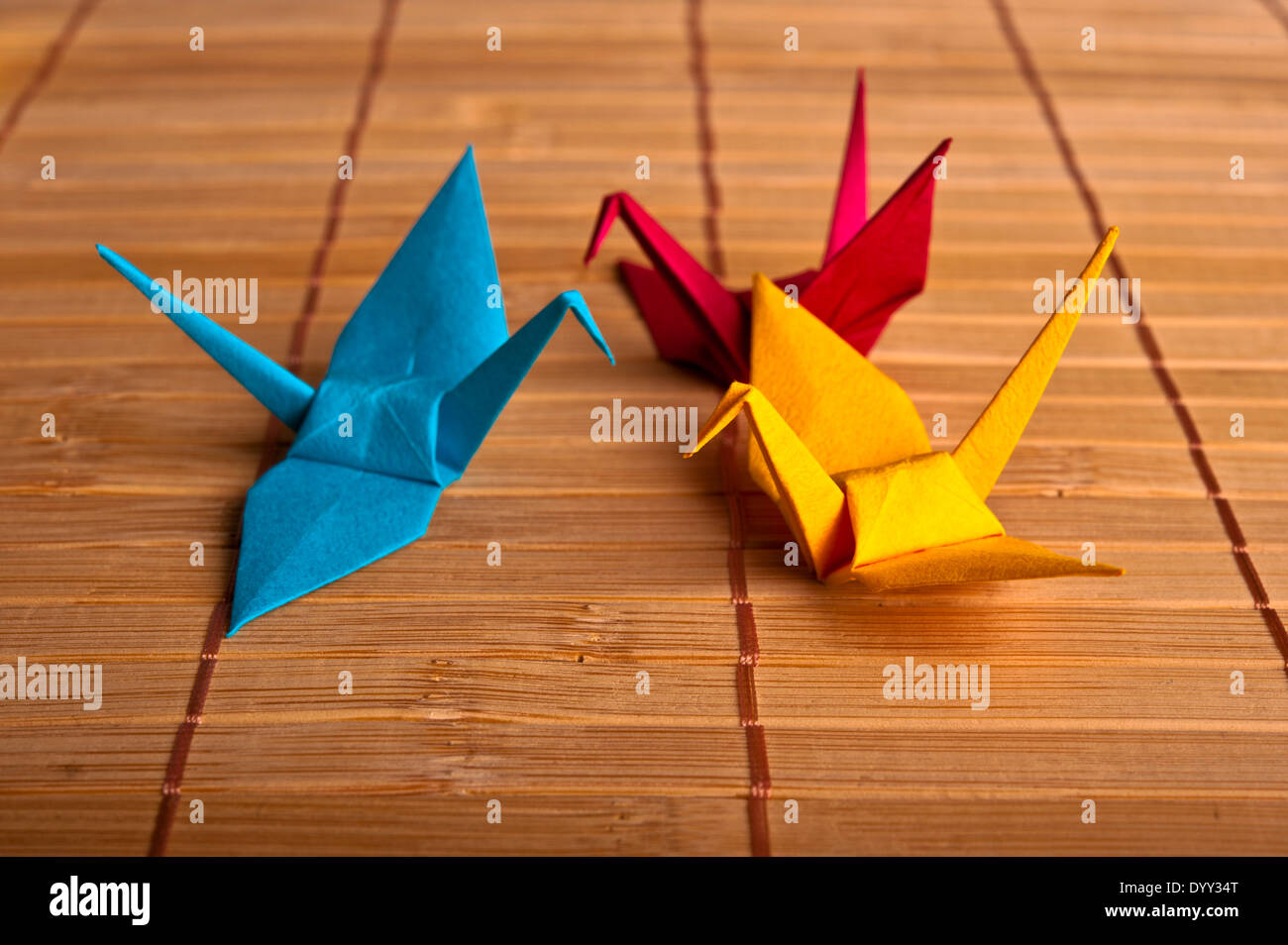 colorful origami cranes - Stock Image