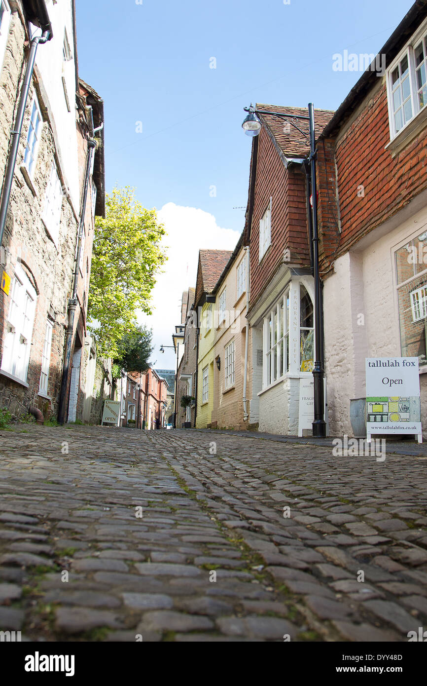 A view of the cobbled streets in Petworth Town Centre. Picture by Paul Terry - Stock Image