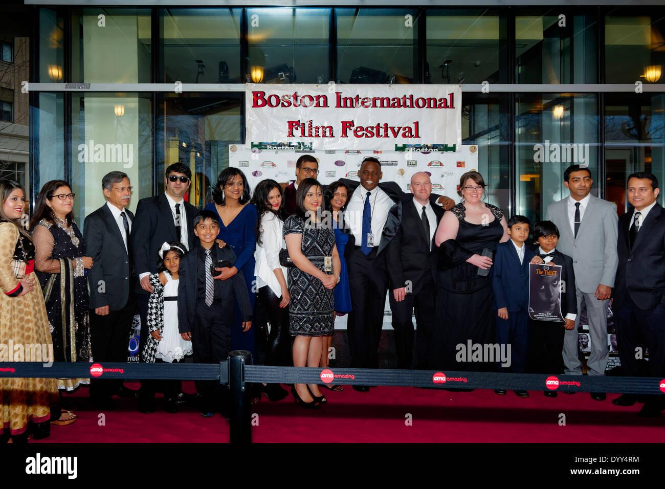 Boston International Film Festival - Boston, Massachussetts USA - The crew from The Theft pose at the 2014 Boston International - Stock Image