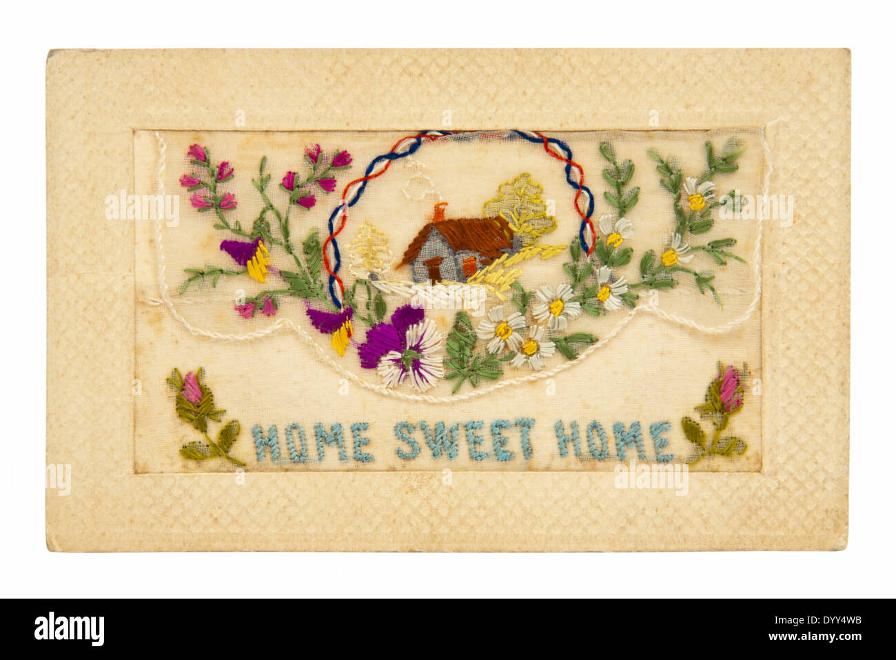 Vintage WW1 embroidered greeting card with the message 'Home Sweet Home' - Stock Image
