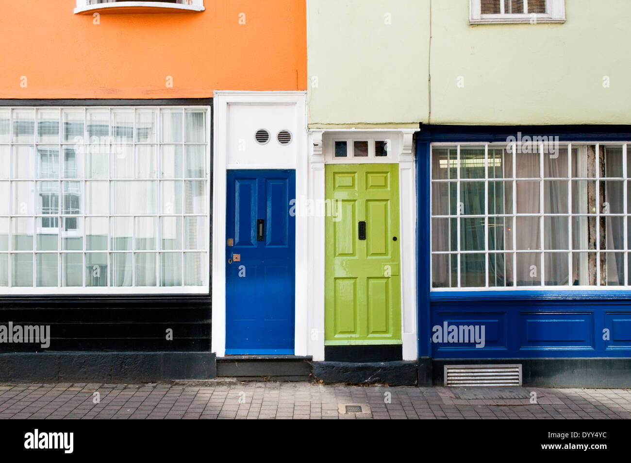 Blue and green painted front doors in terraced houses in Oxford ...