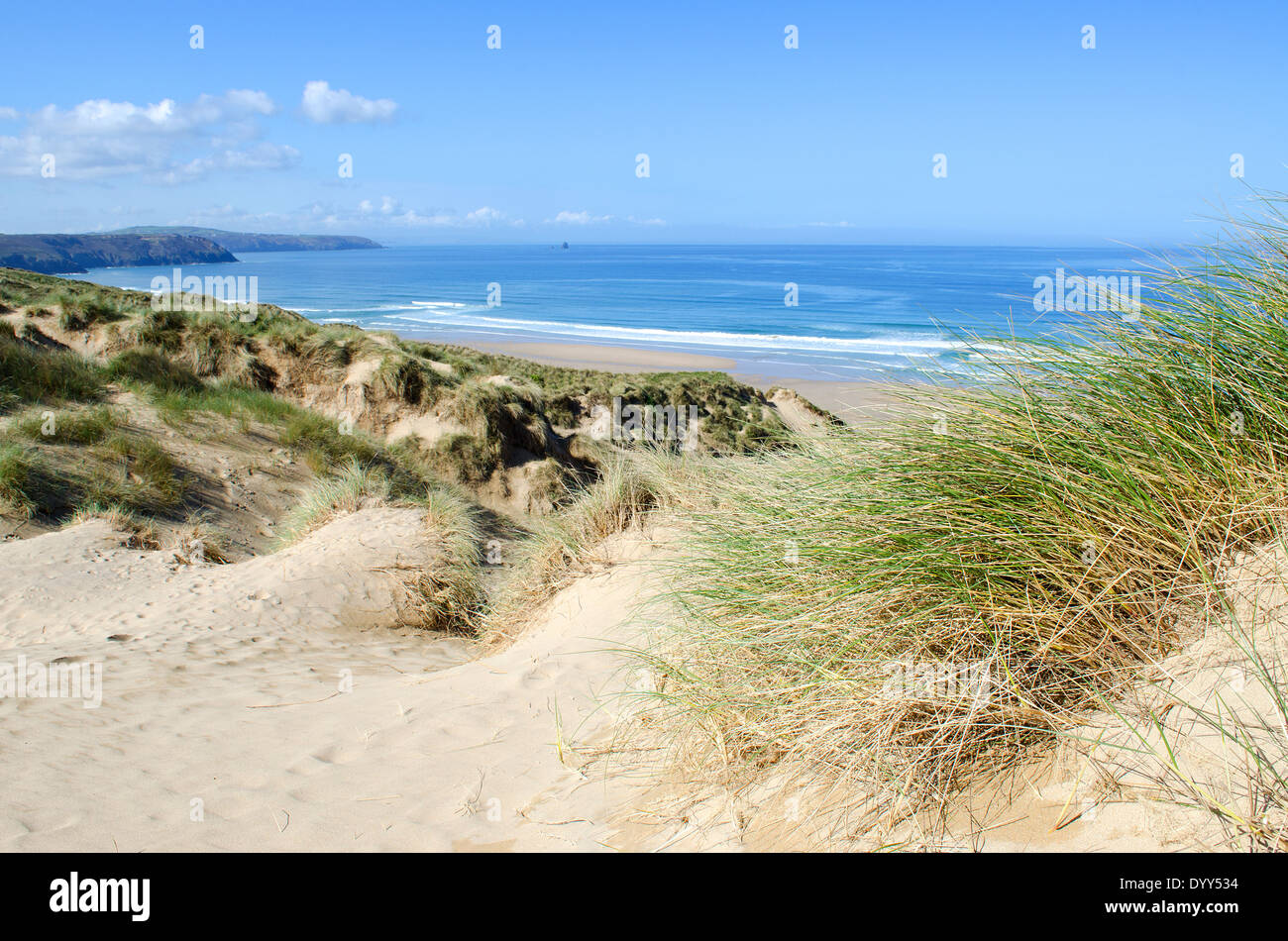 Penhale sands at Perranporth in Cornwall, UK - Stock Image
