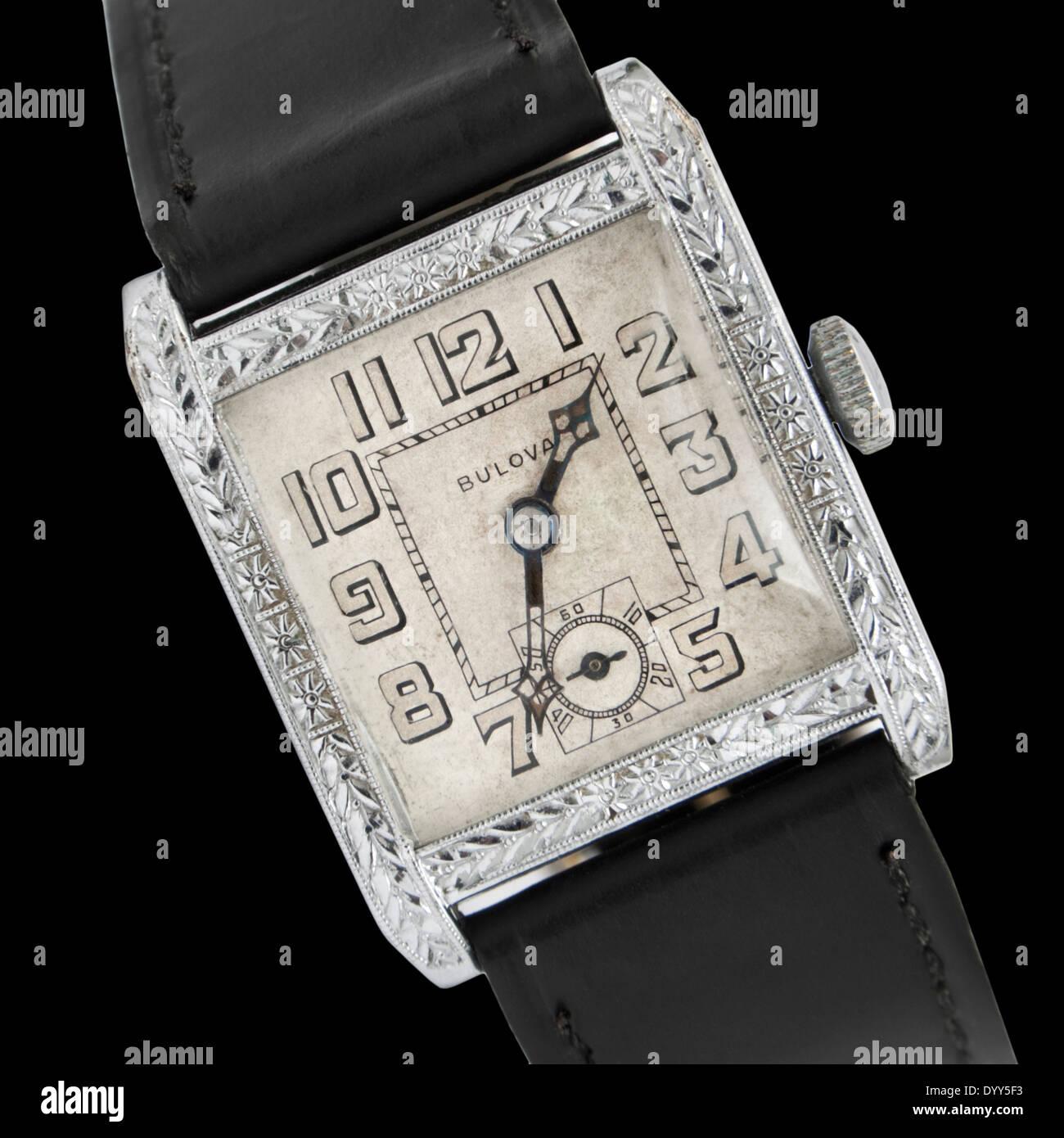Vintage Art Deco (1933) Bulova Ambassador men's wristwatch - Stock Image