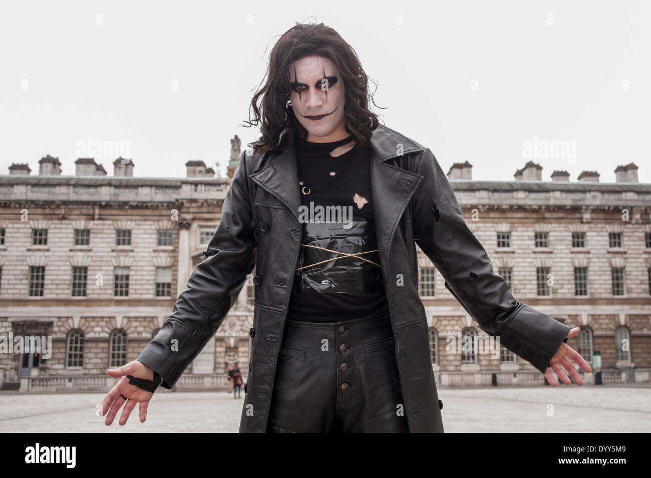 London, 27 April 2014 - people dressed as their favourite sci-fi characters take part in the Sci-Fi London 2014 costume parade starting at Somerset House and finishing at the BFI on the South Bank. A man dressed as the character, the Crow.      Credit:  Stephen Chung/Alamy Live News - Stock Image