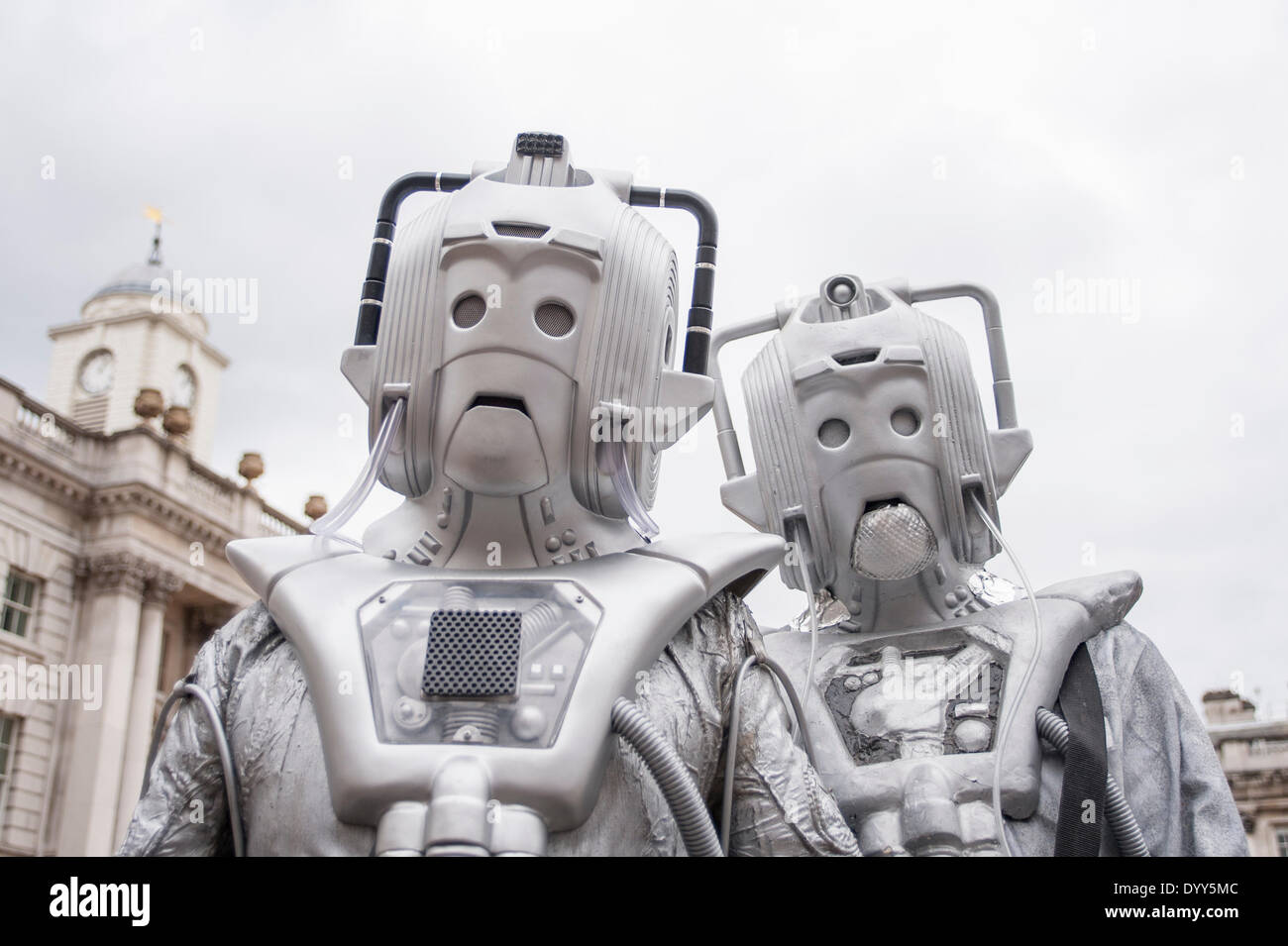 London, 27 April 2014 - people dressed as their favourite sci-fi characters take part in the Sci-Fi London 2014 costume parade starting at Somerset House and finishing at the BFI on the South Bank. Two cybermen in Somerset House.      Credit:  Stephen Chung/Alamy Live News - Stock Image