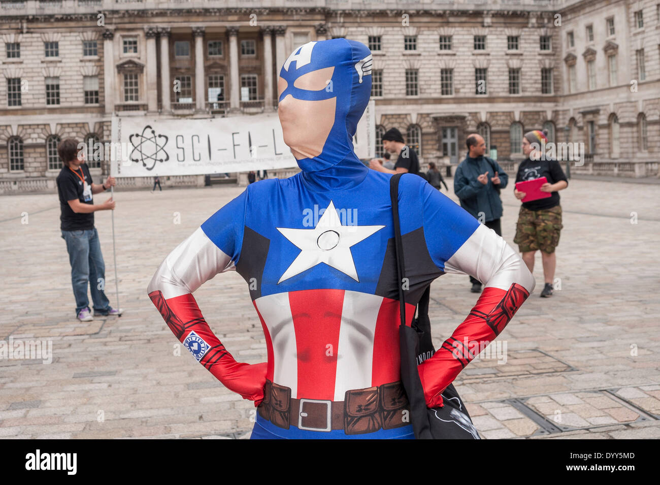 London, 27 April 2014 - people dressed as their favourite sci-fi characters take part in the Sci-Fi London 2014 costume parade starting at Somerset House and finishing at the BFI on the South Bank.  A woman dressed as Captain America.      Credit:  Stephen Chung/Alamy Live News - Stock Image